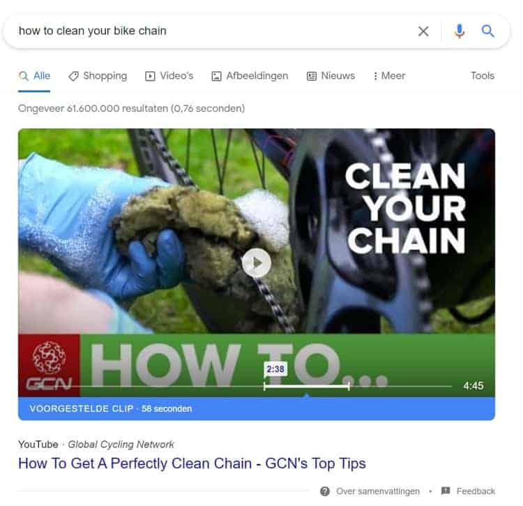 Een video featured snippet in google